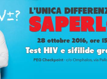 Venerdì 28 Ottobre   Test HIV rapido, anonimo e gratuito